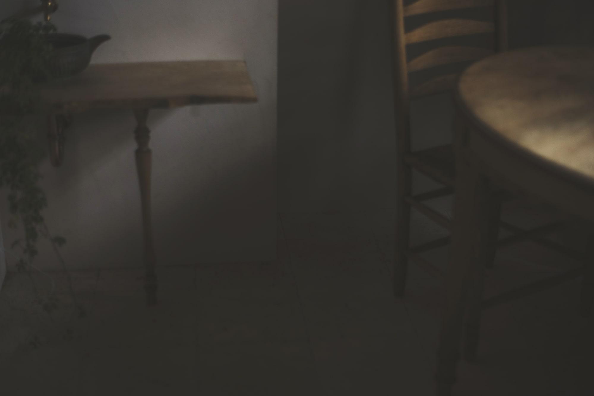 Wooden furniture in dark tone room